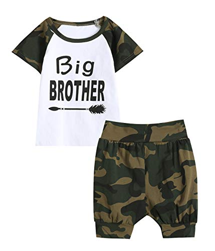 Aslaylme Brother Matching Outfits Big Brother Shirt Camouflage Pant Clothing Set (Camouflage-Big,5 T)