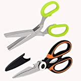 Heavy Duty Kitchen Scissors Set: Food Cooking Shears and Herb Scissors with 5-Blade - Best for Cutting Meat, Chicken, Poultry, Salad by Oojdzoo, (Dishwasher Safe, Stainless Steel)