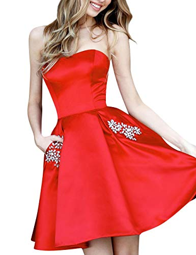 Strapless Bess Homecoming Short Bridal with Pockets Women's Prom Dress Beaded Red Ctwfqt
