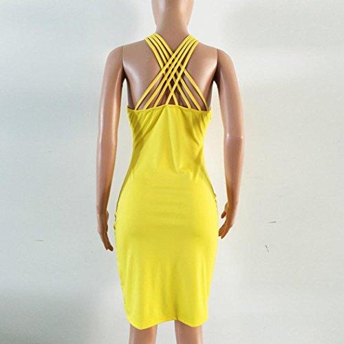 FNKDOR Mujeres Damas sin mangas Backless Vestido Casual vestido de fiesta de noche amarillo