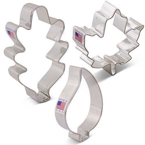 Fall Leaves Cookie Cutter Set with Recipe Book - 3 piece - Maple, Oak and Teardrop Leaf - Ann Clark - US Steel -