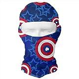 J.C Realm Balaclava Face Mask, Tactical Balaclava Hood, Cap, Scarf, Pirate Hat, Neck Gaiter, Dust Mask, Seamless Headwear, USA American Flag Stars Love Heart Blue