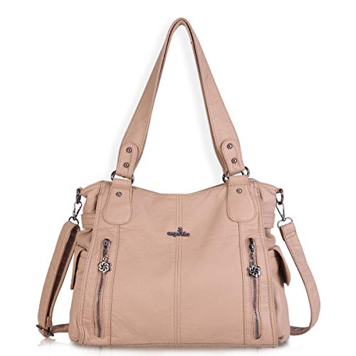Women Handbags Shoulder Bags Washed Leather Satchel Tote Bag Mutipocket Purse (1193-2 - Handbag Apricot Leather