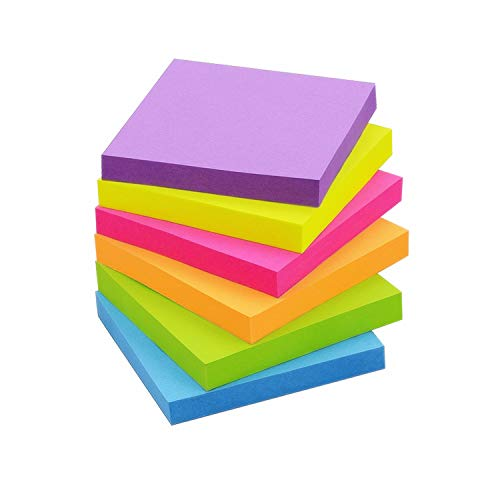 Sticky Notes 3x3 inch Bright Colors Self-Stick Pads 6 Pads/Pack 100 Sheets/Pad Total 600 Sheets