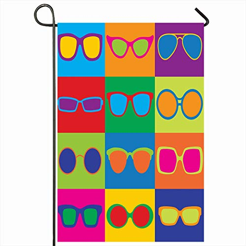"Ahawoso Outdoor Garden Flags 12""x18"" Inch Pattern Styled Generic Eyeglass Sunglasses Eye Frames Eighties Vertical Double Sided Home Decorative House Yard Sign"