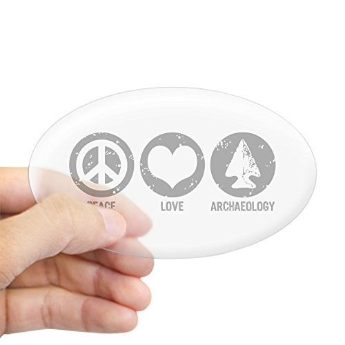 CafePress Peace Love Archaeology Oval Bumper Sticker, Euro Oval Car Decal