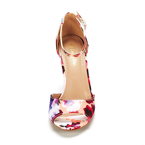 Dröm Par Womens Eileena Mode Stilettos Peep Toe Pump Krängt Sandaler Floral