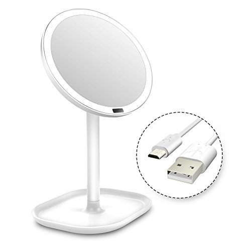 Lighted Makeup Mirror LED Vanity Mirror with Motion Sensor and Organizer Base white cosmetic mirror Battery/USB for - Mirror Motion
