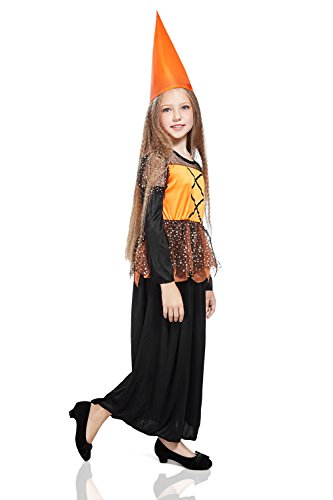 Kids Girls Little Witch Costume Sorceress Enchantress Halloween Outfit & Dress Up (8-11 years, Black, Orange, Stars)