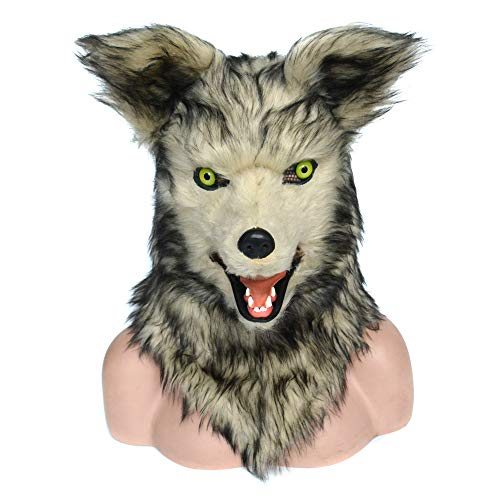 HOMCOM Grey Wolf Costume Mouth Mover Mask