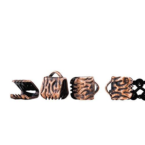 Twilight's Fancy 150 pieces Artisan Series Ribbon Clamps End Crimps (6mm (1/4 inch), Antique Copper)