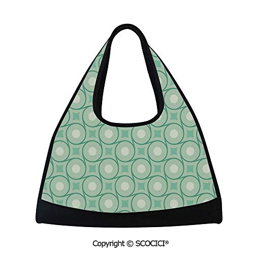 (Badminton bag,Circles and Dots Linked with Lines Wavy Squares Geometric Retro Style,Multi Functional Bag (18.5x6.7x20 in) Mint Emerald Almond)