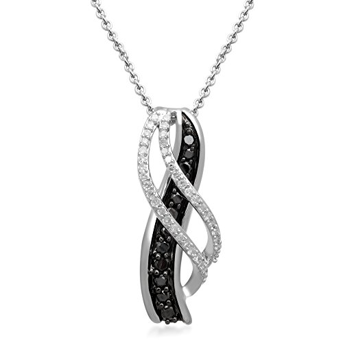 Jewelili Sterling Silver 1/5 cttw Round Black and White Diamond Journey Pendant Necklace, 18