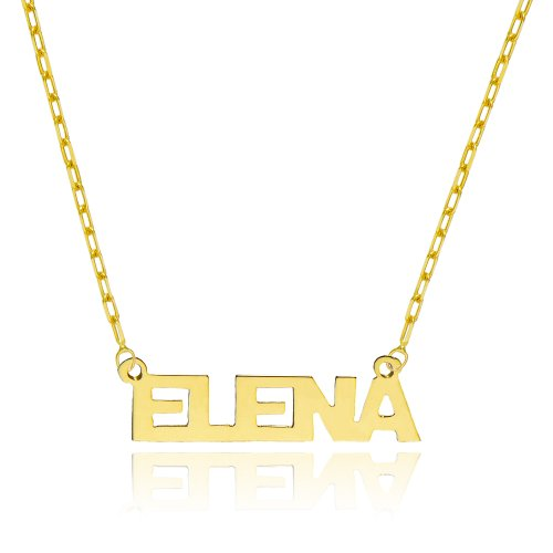 14K Yellow Gold Personalized Name Necklace - Style 12 (16 Inches, Elongated Cable Chain) 14k Yellow Gold Name Pendant