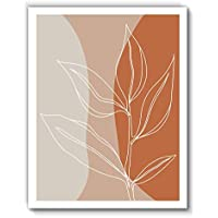 Leaf Line Drawing, Colorful Original Abstract Modern Contemporary Art Print, Minimalist Wall Art For Bedroom and Home Decor, Boho Art Print Poster, Country Farmhouse Wall Decor 11x14 Inches, Unframed
