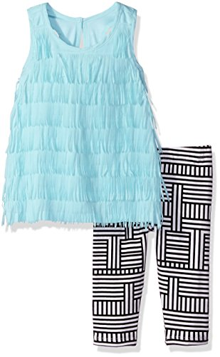 Nicole Miller Little Girls' Toddler Tiered Fringe Tunic with printed Legging Set, Bright White, 2T (Nicole Spandex Tunic)