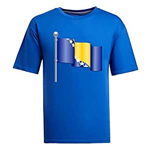 Custom Mens Cotton Short Sleeve Round Neck T-shirt, Printed with World Cup Images blue by supermalls