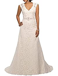 V Neckline A Line Cap Sleeve Lace Over Satin Wedding Dress