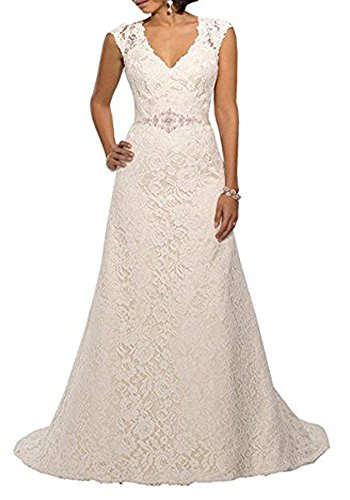 YIPEISHA V Neckline A Line Cap Sleeve Lace Over Satin Wedding Dress 14 Ivory