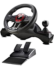 4-in-1 Force Racing Wheel Set, compatible with PC, PS3, PS4 and X-Box One, 270 degree rotation steering wheel PC/Mac