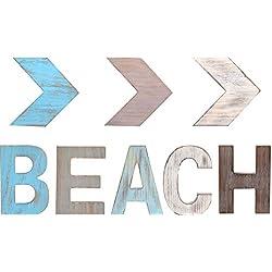 Rustic Wood BEACH & Three ARROW Décor Signs BEACH Décor |Freestanding Wooden Letters Cutouts for Home Décor| Multi-Color Wooden Signs | Decorative Word Signs | for Kitchen Shelf, Farmhouse Décor, Livi