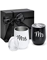 Mr and Mrs Gifts Wine Tumbler Set of 2,Double Wall Stainless Steel Vacuum Insulated Travel Mugs Bridal Shower,Wedding Gifts for Couples,Idea for Bride and Groom Engagement ,12 oz