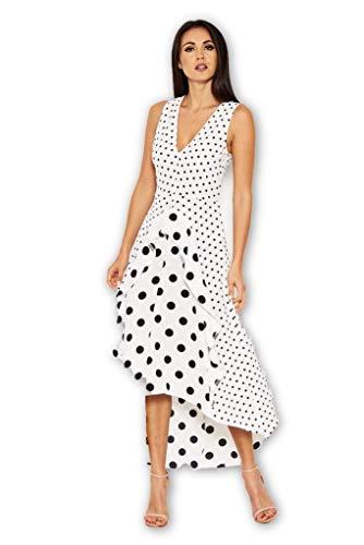 - AX Paris Women's Polka Dot Asymmetric Dress(Cream, Size:4)
