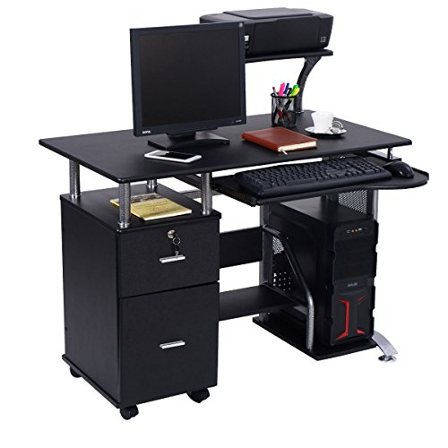 Computer Desk PC Laptop Table WorkStation Home Office Furniture w/ Printer Shelf by On-anongstore