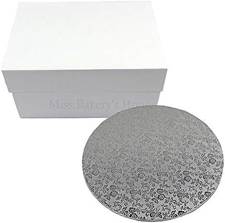 Miss Bakerys House® Caja para tartas con tabla de MDF - 30x30x15 cm - blanco: Amazon.es: Hogar