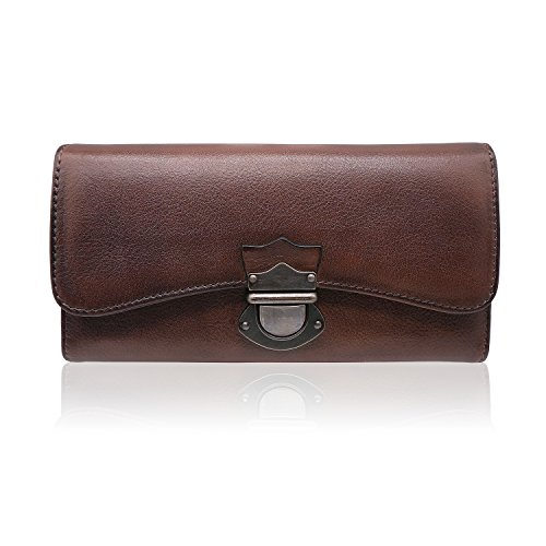 Women's Wallet Large Capacity Ladies Real Leather Clutch (Coffee)