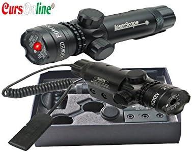 CursOnline® Puntero láser de precisión para escopeta pistola Caza Airsoft tiro de color rojo juego completo de fijaciones, cordón remoto, batería y cargador. Distancia 500m