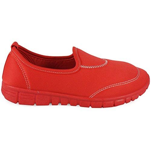 Loudlook De Sur Marche Nouvelles Formateurs Jogging Femmes Des Plat Les Glissent Chaussures Dames Course Uk De 3 Filles Rouge 8 Taille fXfwxOSrq