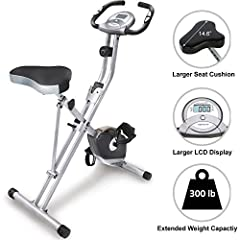 "Exerpeutic Folding Magnetic Upright Bike with Pulse can be folded up and rolled away when you are finished exercising. It is also designed to support up to a weight capacity of 300 lbs. Features like the ""high torque"" 3 piece crank system, ma..."