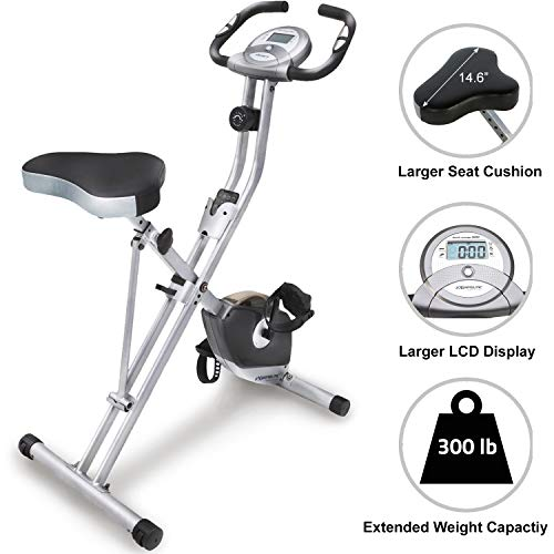 Exerpeutic Folding Magnetic Upright Exercise Bike with