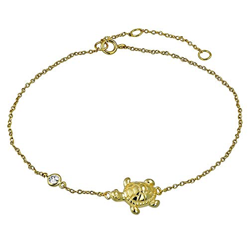 (925 Sterling Silver Yellow Gold-Tone Bezel-Set CZ Turtle Anklet Bracelet)