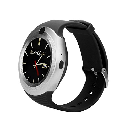 Smart Watch with Camera, Unlocked Phone Mate Full Round Screen with SIM Card Slot Sport Smart Wristband Watch for Android Samsung (Silver) ()