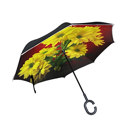 YUMOING Double Layer Inverted Flower Plant Nature Bright Bouquet Marguerite Umbrellas Reverse Folding Umbrella Windproof Uv Protection Big Straight Umbrella For Car Rain Outdoor With C-shaped Handle