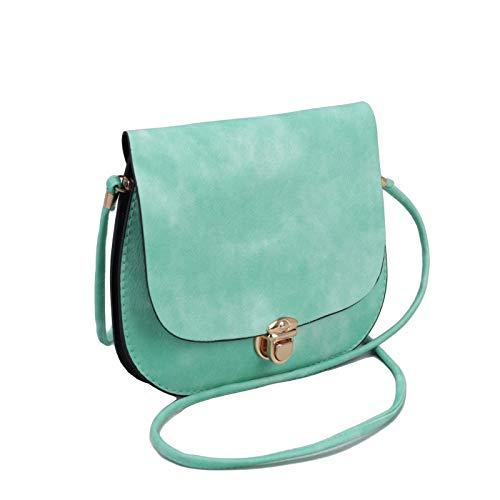 Mint Green Pastel Woman's Matte Cross body Flap Bag   Round Circle Ladies Purse (green)