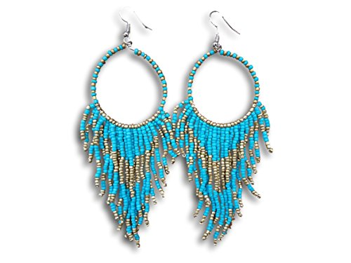 Tribal Dangle Fringe Tassel Bead & Hoop Earrings Native American