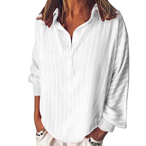 672e366a6c4b44 Kulywon Fashion Woman Loose Casual Striped Button Lapel Long Sleeve Shirt  Top Blouse 2019 White