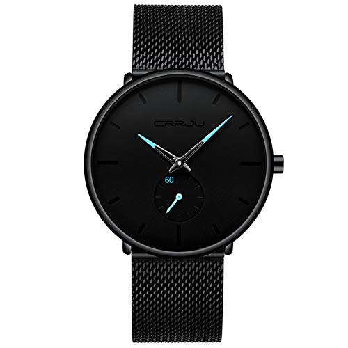 Unisex Minimalist Quartz Analog Men's Watch Fashion Casual Stainless Steel Mesh Band Blue