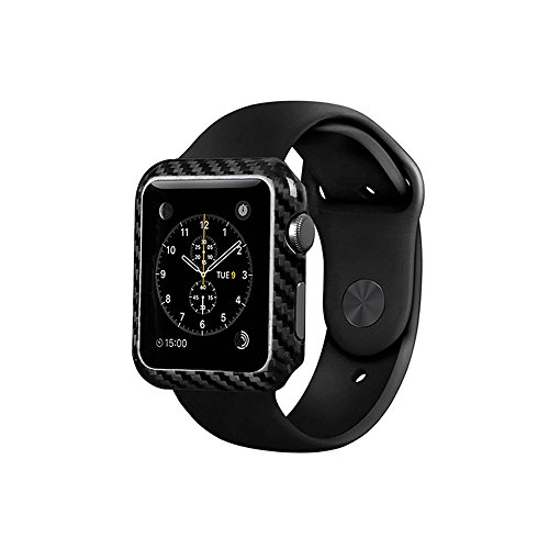 100% Genuine Carbon Fiber Case For Apple Watch Series 2-38/42mm,Ultra Thin - High-Gloss - Twill Weave Finish,Stylish Protection for apple watch-Black by Uwecan