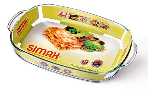 Clear Rectangular Glass Roaster by Simax | Heat, Cold and Shock Proof, Made in Europe, 3.5 Quart by SIMAX (Image #2)