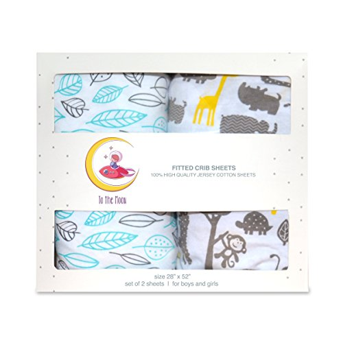 Crib Sheets - 100% Cotton Toddler Gift Set 2 Pack Extra Soft Cotton for Baby Girl or Boy Hypoallergenic for Delicate Skin by To The Moon
