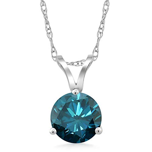 1.10 Ct Round Blue Diamond 18K White Gold Pendant With Chain from Gem Stone King