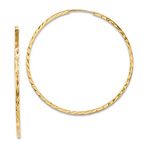 Large 14K Yellow Gold Diamond Cut Square Tube Continuous Endless Hoop Earrings, (40mm) (1.35mm Tube)