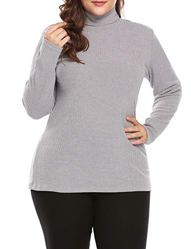 IN'VOLAND Women's Plus Size Turtleneck Sweater Pullover Stretch Knit Tunic Long Sleeve Slim Sweater Jumper Grey