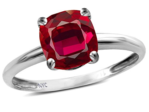 Star K Created Ruby 7mm Cushion Cut Solitaire Engagement Ring 14 kt White Gold Size 8 (Ruby Cushion Cut)