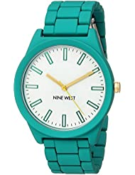 Nine West Womens NW/2008WTTL Matte Teal Rubberized Bracelet Watch