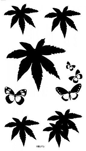 Blanco y Negro Mariposas, Negro hojas tatuajes temporales: Amazon ...